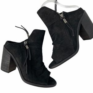 Dolce Vita Suede Open Toe Stacked Heel Booties